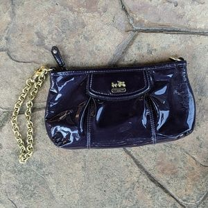 Coach Purple Patent Leather Wristlet with Chain